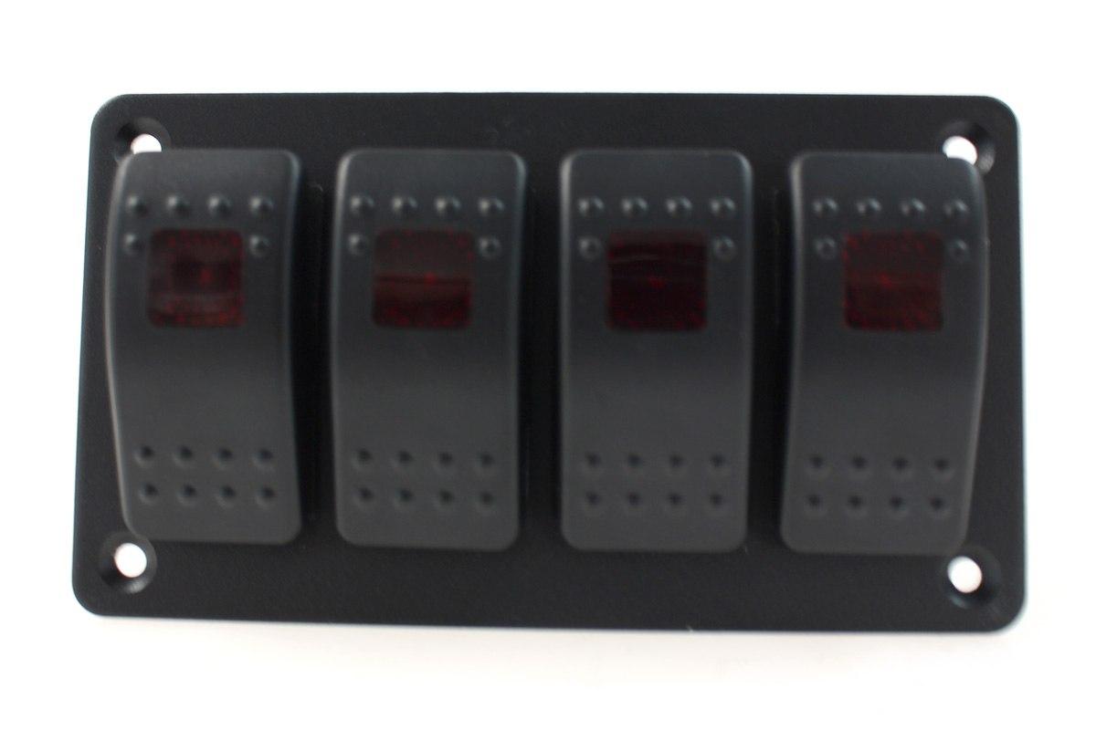 Włącznik panel Alu, ON/OFFx4 Red - GRUBYGARAGE - Sklep Tuningowy